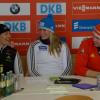 Gut gelaunte Athleten beim Pressetermin am 19. Februar 2015: Anke wischnewski, Natalie Geisenberger und Tobias Wendl